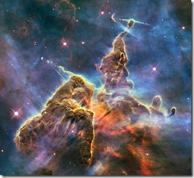 """NASA image release April 23, 2010</p> <p>This brand new Hubble photo is of a small portion of one of the largest seen star-birth regions in the galaxy, the Carina Nebula. Towers of cool hydrogen laced with dust rise from the wall of the nebula. The scene is reminiscent of Hubble's classic """"Pillars of Creation"""" photo from 1995, but is even more striking in appearance. The image captures the top of a three-light-year-tall pillar of gas and dust that is being eaten away by the brilliant light from nearby bright stars. The pillar is also being pushed apart from within, as infant stars buried inside it fire off jets of gas that can be seen streaming from towering peaks like arrows sailing through the air. Credit: NASA, ESA, and M. Livio and the Hubble 20th Anniversary Team (STScI)</p> <p>To read learn more about this image go to:  http://www.nasa.gov/mission_pages/hubble/science/hubble20th-img.html</p> <p><b><a href=""""http://www.nasa.gov/centers/goddard/home/index.html"""" rel=""""nofollow"""">NASA Goddard Space Flight Center</a></b>  is home to the nation's largest organization of combined scientists, engineers and technologists that build spacecraft, instruments and new technology to study the Earth, the sun, our solar system, and the universe."""